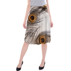 Peacock Feathery Background Midi Beach Skirt