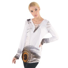 Peacock Feathery Background Women s Tie Up Tee