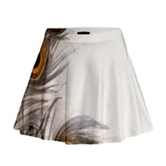 Peacock Feathery Background Mini Flare Skirt