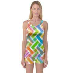 Abstract Pattern Colorful Wallpaper One Piece Boyleg Swimsuit