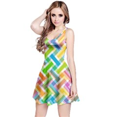 Abstract Pattern Colorful Wallpaper Reversible Sleeveless Dress