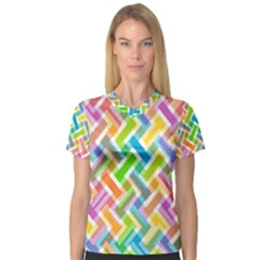 Abstract Pattern Colorful Wallpaper Women s V-Neck Sport Mesh Tee