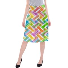 Abstract Pattern Colorful Wallpaper Midi Beach Skirt