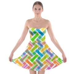 Abstract Pattern Colorful Wallpaper Strapless Bra Top Dress
