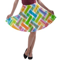 Abstract Pattern Colorful Wallpaper A-line Skater Skirt