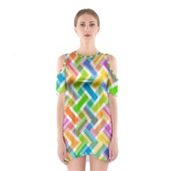 Abstract Pattern Colorful Wallpaper Shoulder Cutout One Piece