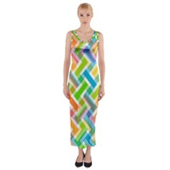 Abstract Pattern Colorful Wallpaper Fitted Maxi Dress