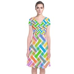 Abstract Pattern Colorful Wallpaper Short Sleeve Front Wrap Dress