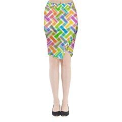 Abstract Pattern Colorful Wallpaper Midi Wrap Pencil Skirt