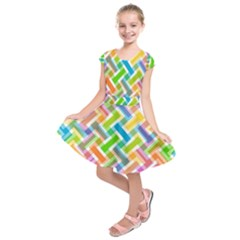 Abstract Pattern Colorful Wallpaper Kids  Short Sleeve Dress