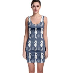 Seahorse And Shell Pattern Sleeveless Bodycon Dress