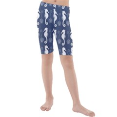 Seahorse And Shell Pattern Kids  Mid Length Swim Shorts