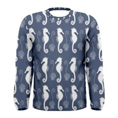 Seahorse And Shell Pattern Men s Long Sleeve Tee