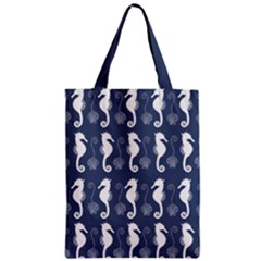 Seahorse And Shell Pattern Zipper Classic Tote Bag
