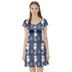 Seahorse And Shell Pattern Short Sleeve Skater Dress