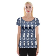 Seahorse And Shell Pattern Women s Cap Sleeve Top