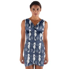 Seahorse And Shell Pattern Wrap Front Bodycon Dress