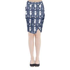 Seahorse And Shell Pattern Midi Wrap Pencil Skirt
