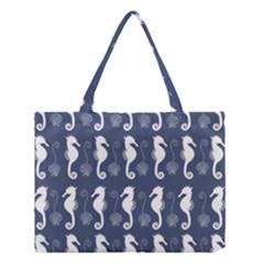 Seahorse And Shell Pattern Medium Tote Bag