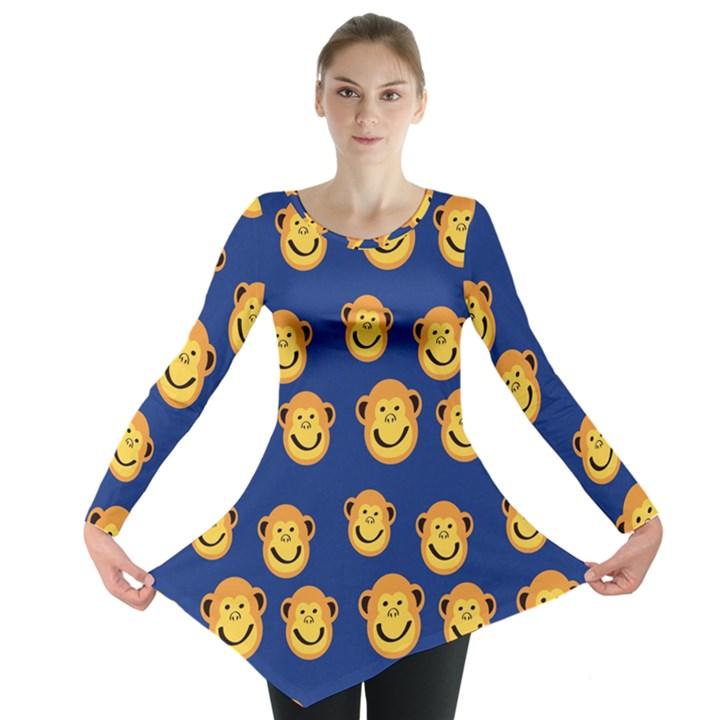 Monkeys Seamless Pattern Long Sleeve Tunic