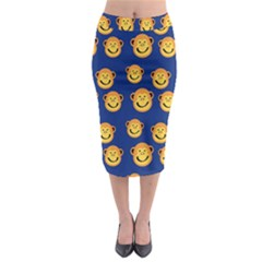 Monkeys Seamless Pattern Midi Pencil Skirt