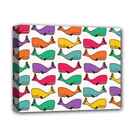 Small Rainbow Whales Deluxe Canvas 14  x 11