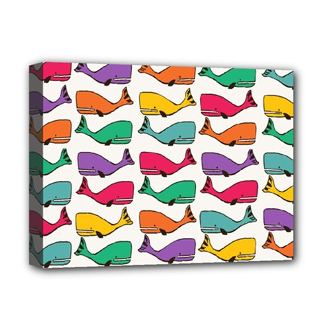Small Rainbow Whales Deluxe Canvas 16  x 12