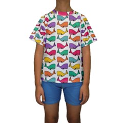 Small Rainbow Whales Kids  Short Sleeve Swimwear