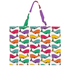Small Rainbow Whales Large Tote Bag