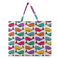 Small Rainbow Whales Zipper Large Tote Bag