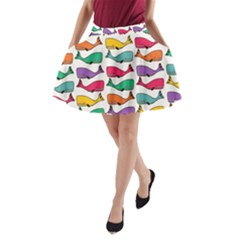 Small Rainbow Whales A-Line Pocket Skirt