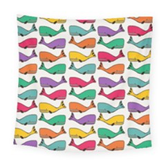 Small Rainbow Whales Square Tapestry (large)