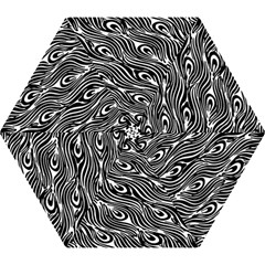 Digitally Created Peacock Feather Pattern In Black And White Mini Folding Umbrellas