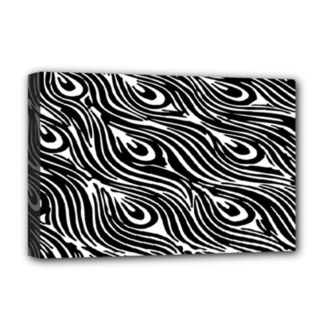 Digitally Created Peacock Feather Pattern In Black And White Deluxe Canvas 18  x 12