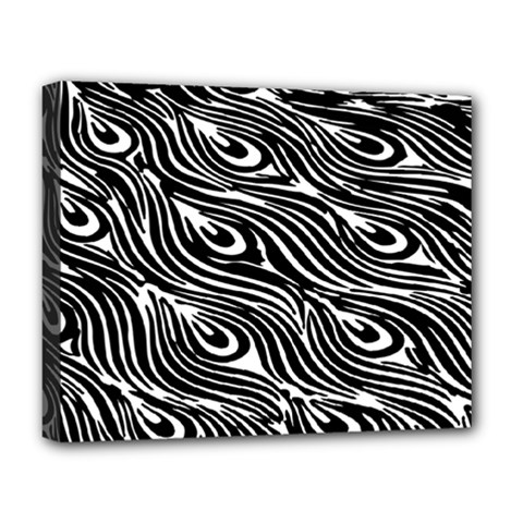 Digitally Created Peacock Feather Pattern In Black And White Deluxe Canvas 20  x 16
