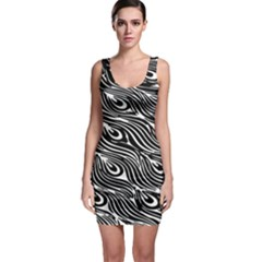Digitally Created Peacock Feather Pattern In Black And White Sleeveless Bodycon Dress