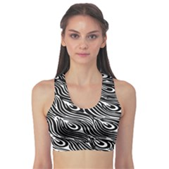 Digitally Created Peacock Feather Pattern In Black And White Sports Bra