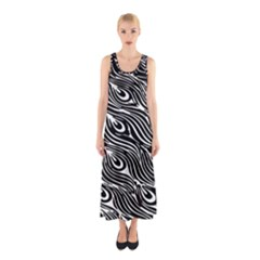 Digitally Created Peacock Feather Pattern In Black And White Sleeveless Maxi Dress