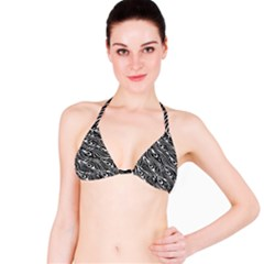 Digitally Created Peacock Feather Pattern In Black And White Bikini Top