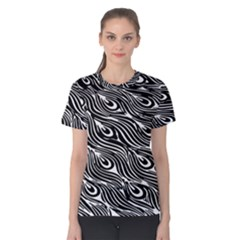 Digitally Created Peacock Feather Pattern In Black And White Women s Cotton Tee