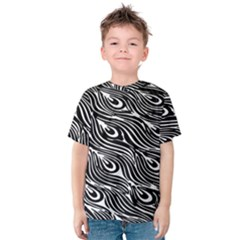 Digitally Created Peacock Feather Pattern In Black And White Kids  Cotton Tee