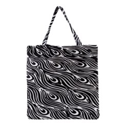 Digitally Created Peacock Feather Pattern In Black And White Grocery Tote Bag