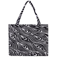 Digitally Created Peacock Feather Pattern In Black And White Mini Tote Bag
