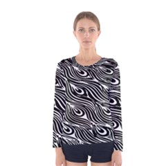 Digitally Created Peacock Feather Pattern In Black And White Women s Long Sleeve Tee