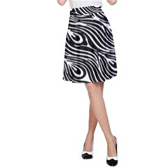 Digitally Created Peacock Feather Pattern In Black And White A-Line Skirt