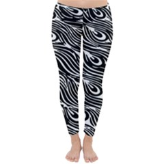 Digitally Created Peacock Feather Pattern In Black And White Classic Winter Leggings
