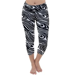 Digitally Created Peacock Feather Pattern In Black And White Capri Winter Leggings