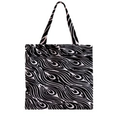 Digitally Created Peacock Feather Pattern In Black And White Zipper Grocery Tote Bag