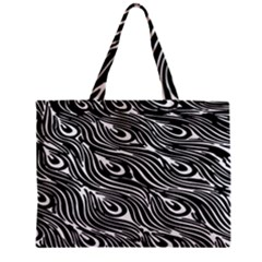 Digitally Created Peacock Feather Pattern In Black And White Zipper Mini Tote Bag