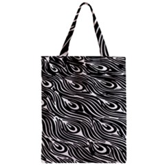 Digitally Created Peacock Feather Pattern In Black And White Zipper Classic Tote Bag
